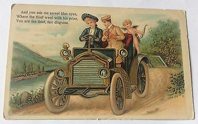 Early German Gilt Automobile With Cupid Postcard