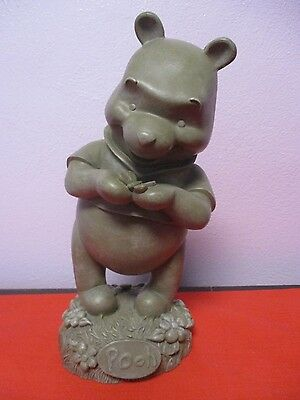 "Disney Winnie The Pooh Gray Resin Statue Pooh Bear White Swan  9.5"" Tall"