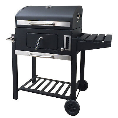 Holzkohlegrill BBQ Smoker Grill Grillwagen Barbecue Holzkohle Gartengrill Ablage