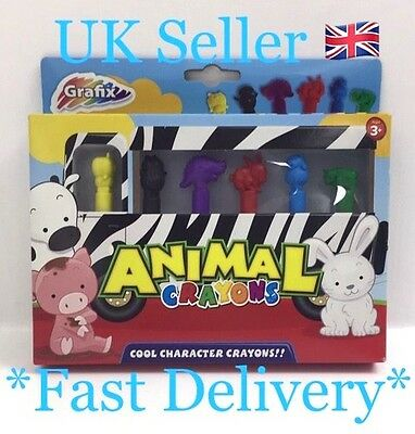 Animal Shaped Cool Character Crayons Grafix Box of 6 Uk Seller B17