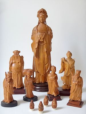 Group of chinese hand carved wood figures cultural revolution period