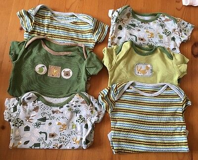 6 Woodland Themed Short Sleeved Baby Vests Size 0-3 Months