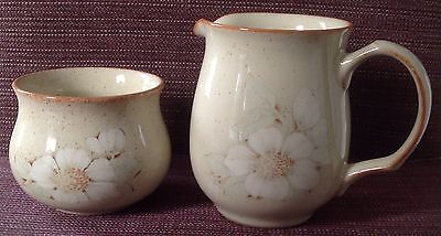 Denby Daybreak Pottery Milk Jug and Sugar Bowl - Perfect Condition
