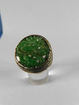CHINESE ANTIQUE CARVED JADE STONE set into SOLID SILVER JADE RING