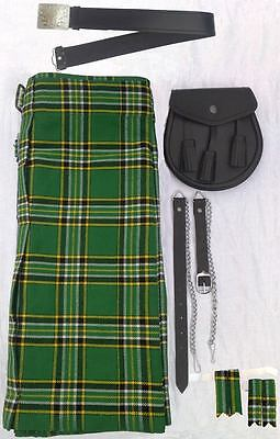 "IRISH TARTAN KILT SET OUTFIT PACKAGE 7 PIECES, SIZES 28"" to 46"""