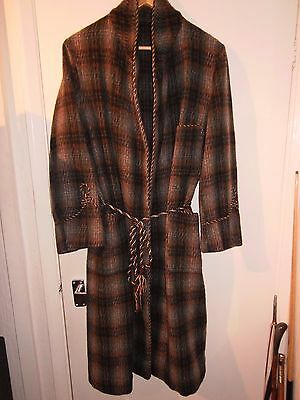 vintage mens wool plaid smoking dressing gown robe  great condition 1950s