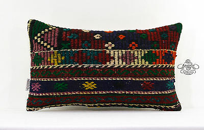Vintage Lumbar Kilim Pillow Embroidered Turkish Decor Accent Cushion Sham 12x20""