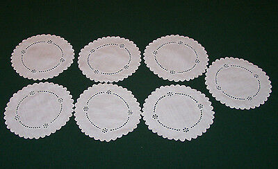 7  VINTAGE LINEN COASTERS, UNDERPLATES,  WHITEWORK EMBROIDERY, c1920