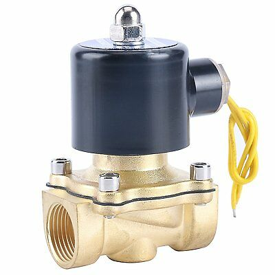 "110V AC Electric Brass Solenoid Valve for Water Gas Fuel Air  3/4"" Inch Pipe US"
