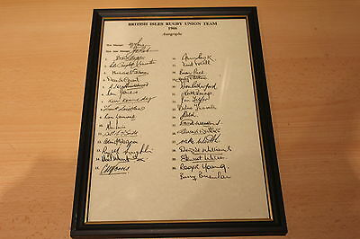 British Isles Rugby Union Team 1966 Framed Autographs
