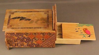 VINTAGE ANTIQUE JAPANESE WOODEN SECRET PUZZLE BOX plays tune when drawer opens