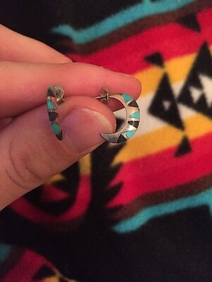Navajo Old Pawn Silver Turquoise Earrings Unique Native American
