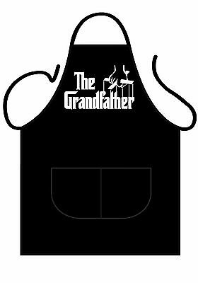 Unisex Black Novelty Apron, The Grandfather, Showing Godfather Puppet Hands