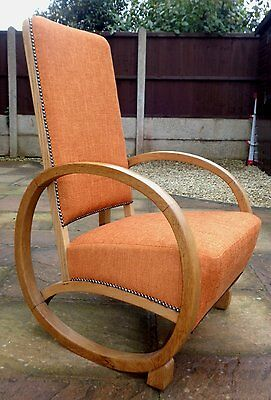 ORIGINAL 1930s ART DECO OAK ROCKING CHAIR COMPLETELY RE-UPHOLSTERED