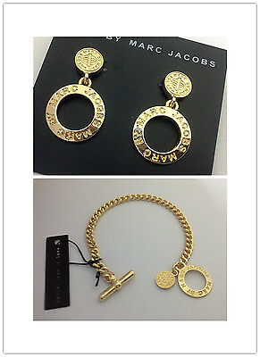 Hot Marc By Marc Jacobs Hollow 4 Colrs Letters Lock Bracelet Earrings Set #j006X