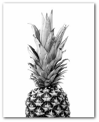 Pineapple Print, Black and White Pineapple, Tropical Pineapple, 8 x 10 inches