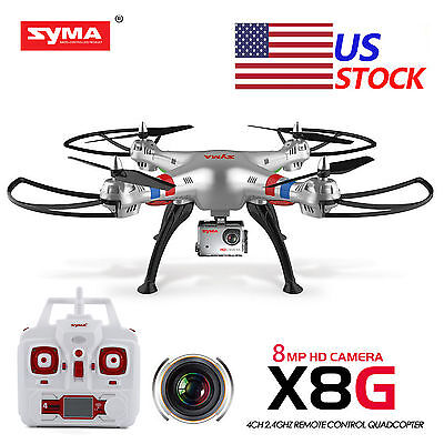 Syma X8G 2.4Ghz 4CH RTF RC Quadcopter Drone with 8MP HD Camera Headless+1battery