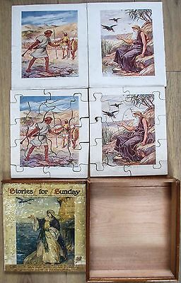 Vintage Wooden Jigsaw Puzzle Stories For Sunday Double Dissected Puzzles