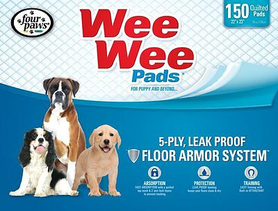 Four Paws Wee Wee Pads for Puppies 150-Count Box New