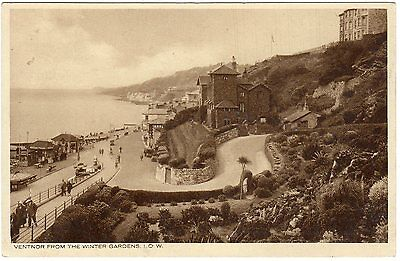VENTNOR FROM THE WINTER GARDENS ~ A VINTAGE PHOTO POSTCARD (l27)