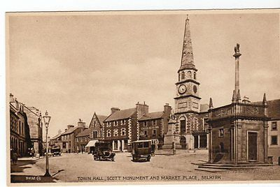 Selkirk, Town Hall, Scott Monument And Market Place ~ An Old Rp Postcard By Jame