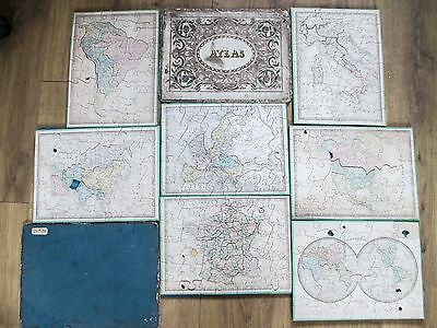 ANTIQUE VICTORIAN WOODEN JIGSAW PUZZLE ATLAS maps C1850 by LOGEROT