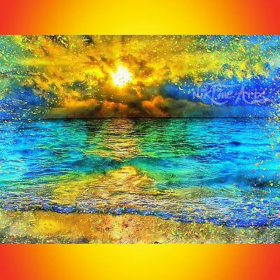 Nik Tod Original Painting Large Signed Art Sunset Waves Ocean Colorful Textured