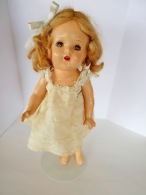 """12""""  VINTAGE SHIRLEY TEMPLE COMPOSITION DOLL 1930's SWEET FACE"""