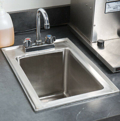 """One Compartment w FAUCET 10"""" x 14"""" x 10"""" Stainless Steel Drop In Sink Commercial"""