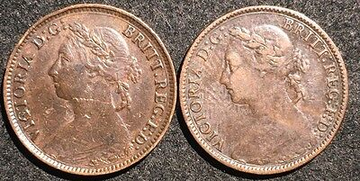 Great Britain 1881i;1881 Farthing 2 Coins