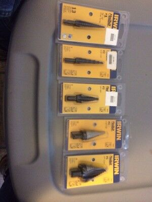 Lot Of 5 Brand New Irwin Unibit #1 #2 #3 #4 #5
