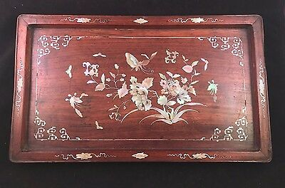 Antique Mother of Pearl Inlaid Rectangular Rosewood Opium Tray China/Vietnam