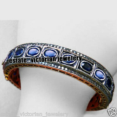 Estate Vintage 4.98cts Rose Cut Diamond Sterling Silver Jewelry Sapphire Bangle