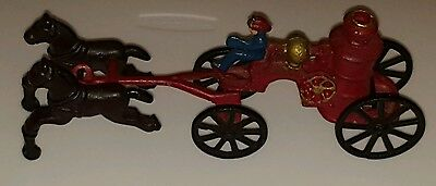Antique Cast Iron Horse Drawn Fire Truck Pumper Wagon with Driver