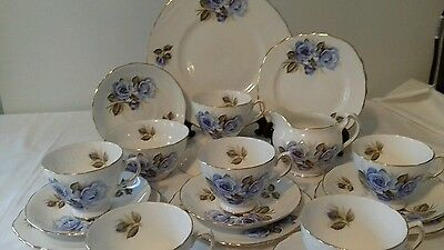 Lovely 21 pc tea set with beautiful blue rose design