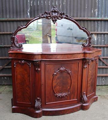 A Quality Victorian Mahogany Serpentine Fronted Mirror Back Chiffonier Sideboard