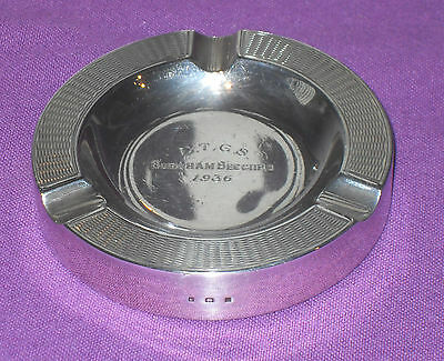 Stunning Art Deco 1936 Sterling Silver Ashtray Engine Turned Design Antique