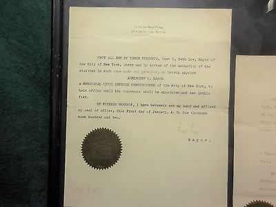 New York City Mayor Seth Low 1902. Signed Mayoral Ltr w/ NYC Seal