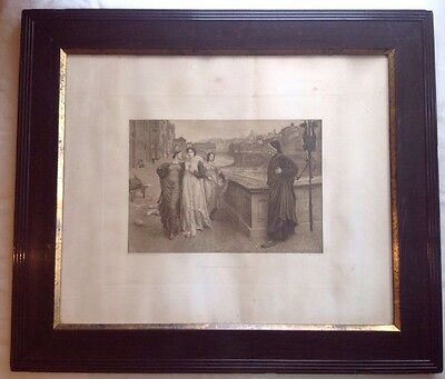 Large Antique Framed Print Of Dante And Beatrice In Florence By Henry Holiday