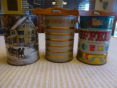 Lot 3 Vintage Holiday Coffee Cans ~ No Lids