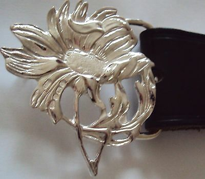 Magnificent Magnolia Solid Sterling Silver Ladies Belt Buckle