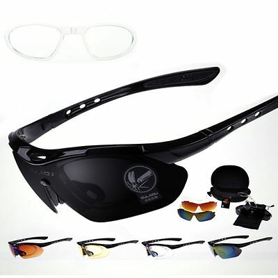 Sports Cycling Bike Bicycle Sunglasses UV400 5 Lens Goggles Glasses HS