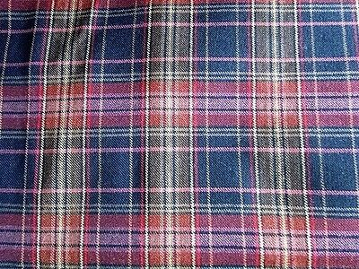 Scottish Wool Country Tartan Plaid Check fabric Scarf Shawl Craft Maroon Navy