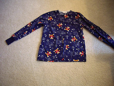 "Size Small ""Peaches Uniforms"" Navy Blue with Teddy Bears Scrubs Jacket"