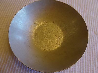 Silver Metal Hand Forged Everlast Hammered Aluminum Bowl w/Floral Pattern