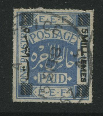 Palestine: 1918 EEF 5 mill. surcharge on 1 piastre stamp SG4 Used XX339