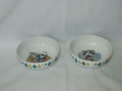 MICKEY & MINNIE MOUSE set of two vintage GIBSON diamond pattern BOWLS