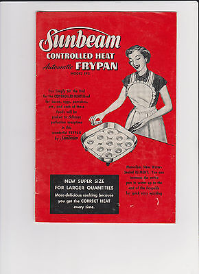 Sunbeam Controlled Heat Automatic Frypan Model FPS Book Vintage Bright Red color