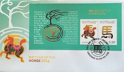 2014 Christmas Island Year Of The Horse Mini Sheet First Day Cover