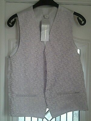 """Bnwt Bhs Wedding Collection Silver & Lilac Waistcoat Size 38""""chest"""